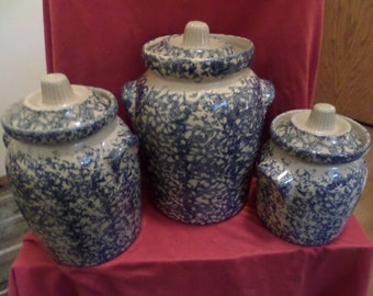 Robinson Ransbottom Blue Spongeware Pottery Canister Set Roseville Ohio #700