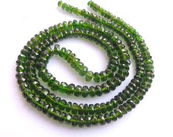 Chrome Dioxide Roundel Beads, Size- 3x3 to 5x5 MM, Natural Chrome Dioxid Beads, AAA Quality, Faceted,Bead, Natural Gemstone, 17 INCH