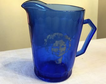 Shirley Temple Cobalt Blue Pitcher, Hazel Atlas Honeycomb