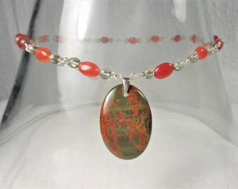 Pilbara jasper necklace with red jasper and green glass beads  sterling silver links