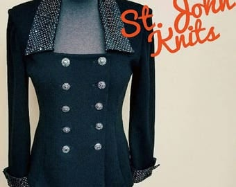 St John Evening Paillietts Black Knit Jacket