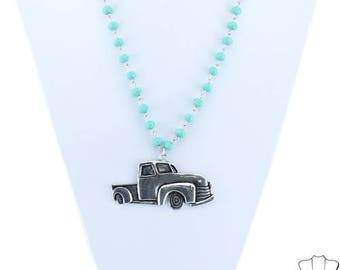 Beaded Necklace with Vintage Pickup Truck
