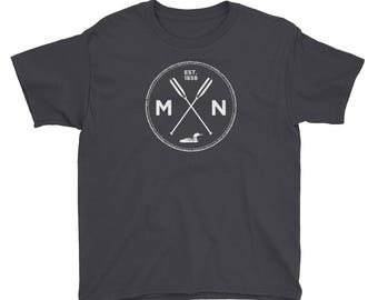 Adventure Minnesota Seal T Shirt - MN, Est 1858, Loon, Oars Youth Short Sleeve T-Shirt
