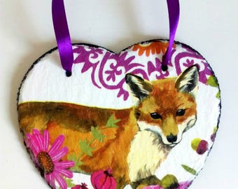 Majestic fox- Hand decorated hanging slate heart