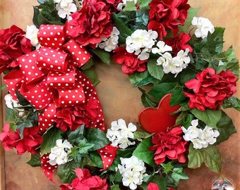 Red Red Red Valentine's Day Wreath - Red Sparkle, Cream Hydrangea, Red Wooden Heart and a Red Bow with White Polka Dots - Ready to Ship