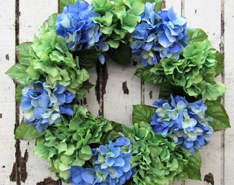 Simple and Sweet Everyday Hydrangea Wreath with Green and Blue Hydrangeas - Ready to Ship