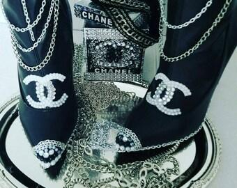Chanel handmade custum boots thigh high