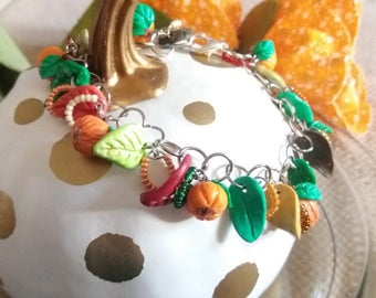 Fall Pumpkin Charm Bracelet, Charm Bracelet, Handmade Charms, Gifts for her, Gifts for girls, Gift for Hostess