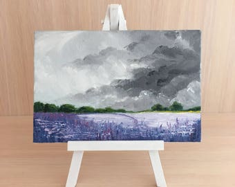 lavender field, small canvas painting, oil painting, gift, decor