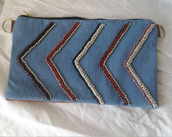 Bag embroidered with beads by hand
