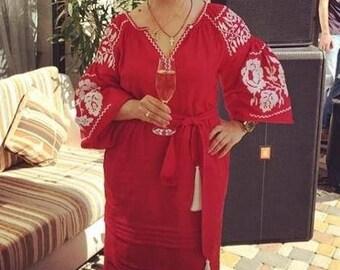 Bohemian Clothes Ukrainian Dresses Vyshyvanka Dress Vishivanka Kaftan Abaya Boho Clothing Ukraine Mexican Embroidery Linen Caftan