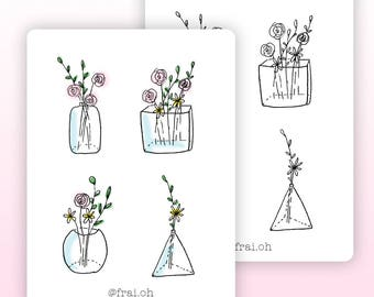 Botanical stickers • Minimal stickers • Flowers stickers • Decorative stickers • Planner stickers • Bullet Journal stickers