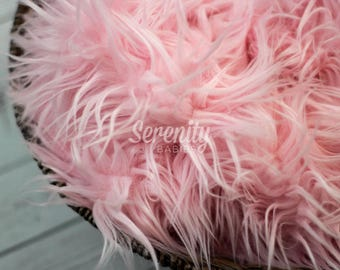 Newborn Prop, PINK Photo Prop, Newborn Faux Fur, Posing Prop, Newborn Photo Prop, Photography Prop Faux Fur Cozy Prop, Posing Fur RTS Sale
