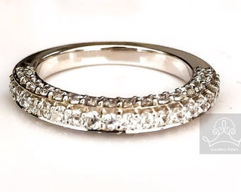Sterling silver cz wedding band,half eternity ring cz encrusted pave setting
