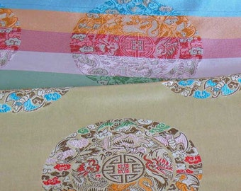 8Discount Chinese brocade satin fabric material lucky symbol on dull gold embroidered by the 0.5 YARDS, Yards Meters cbs 908