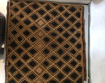 3 vintage African Kuba palm fibre hand woven mats from the Congo.