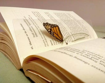 book accessories/Butterfly Bookmark/ Christmas gift for her/butterfly wing bookmark/ recycled plastic/ real butterfly wing/monarch butterfly