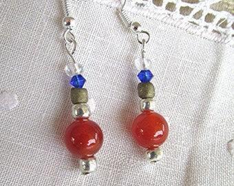 Carnelian earrings beaded earrings dangle earrings hippie earrings agate earrings boho earrings gemstone earrings gemstone jewelry gift.
