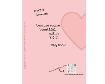 You're Beautiful with a Y.O.U. Me, Too millennial pink singing art print | Mother's Day gift | inspiring message for women | inspiring gift