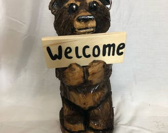 Small Standing Bear Holding Sign Wood Carving OOAK Handmade Chainsaw Sculpture by Robert Lyon