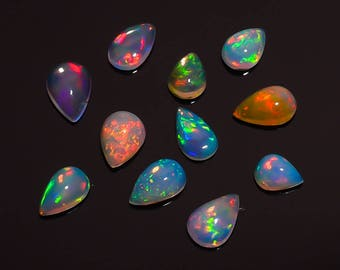 8.6 Ct. Natural Welo Fire Ethiopian Opal Pear Shape Cabochon Gemstone Lot HB-403