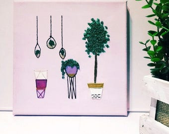 Embroidered Plants on Canvas