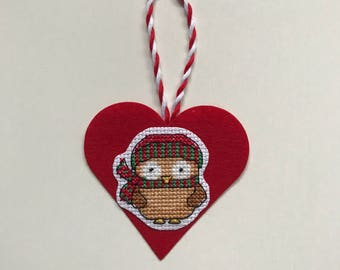 Christmas ornament /owl decoration /cross stitch gift