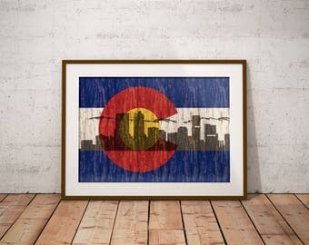 Colorado State Flag Denver Skyline Poster, wall art, Colorado Art, Denver Art, Mile High