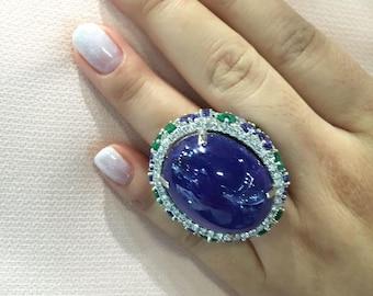 Last Call Liquidation!! 25,080 Nwt Rare Important 18kt Rare Magnificent Huge Rare Tanzanite Emerald Diamond Ring Approx 78CTS!!