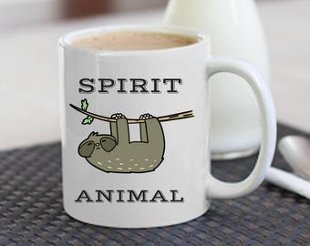 Animal Spirit Mug - Funny Sloth Gift   Sloth Gift   Sloth Mug   Funny Sloth Mug   Funny Coffee Mug   Funny Sloth Coffee Mug   Sloth Gift Fun