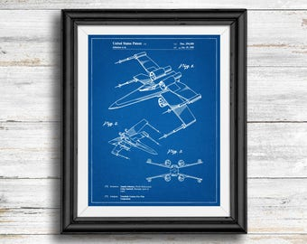Star Wars X Wing Full Image Patent Poster, X Wing Print, Starwars Art, Star Wars Characters, Vintage, Spaceship, Skywalker, Wall Art Decor