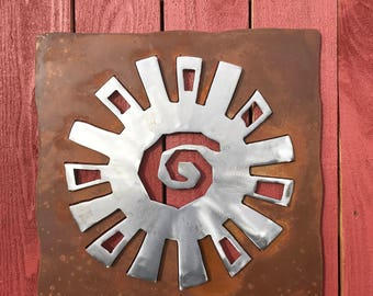 Sun Spiral Rusted Metal/Polished Steel Wall Hanging