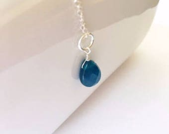 Dyed Jade drop,necklace add on, necklace accessory,  sterling silver, 12mm blue stone, small gift, Xmas gift, blue drop bead, dyed blue jade