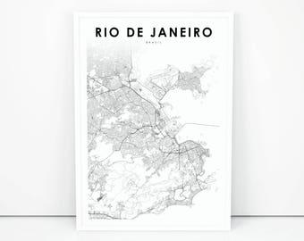 rio de janeiro map print brazil map art poster city street road map print
