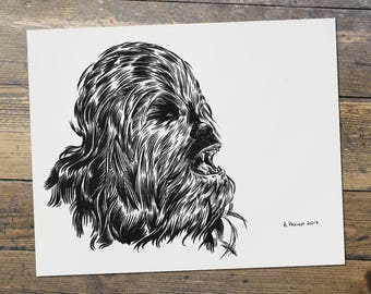 Chewbacca - Chewy - Star Wars - Fan Art - Chewbacca Print - Gift for Him