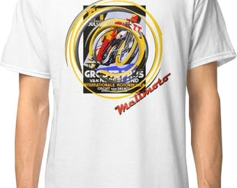 Inished Productions TT Assen inspired classic retro bespoke urban Motorcycle art T-Shirt Melimoto