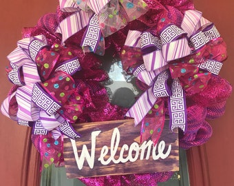 Spring wreath bright pink and purple