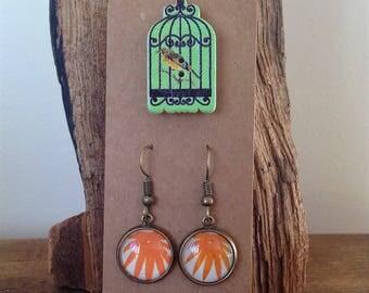 Orange Flower Drop Earrings incorporating original 1960's Magic Roundabout illustrations