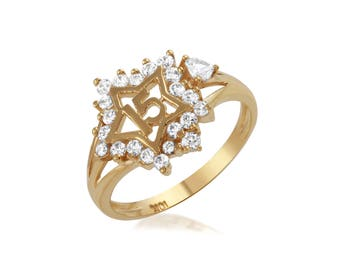 Gold 15 Anos Star Ring