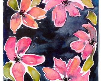 watercolor flowers, floral art, flower painting, original art, valentines day gift, giftable art