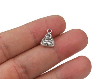 Bulk 10 pcs Buddha charms, Chinese charms, Alloy metal charms, Antique silver charms, Jewelry making, Cheap charms, 13 mm x 10 mm, A90