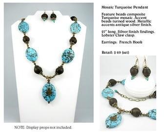 Original Mosaic Turquoise Pendant Necklace Set