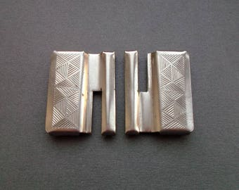 Vintage metal belt buckle in two parts. Made in USSR 1970