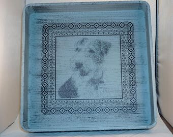 Tray wood footed Fox terrier