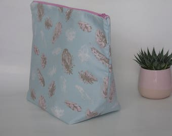 Very large case blue and pink feather