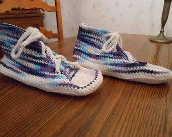 New HANDMADE Crocheted Navy Blue, Light Blue Purple and White Sneaker Slipper (Size 8.5)