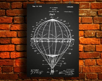 Hot Air Balloon Patent Print, Hot Air Balloon Patent, Hot Air Balloon Art, Hot Air Balloon, Vintage Poster