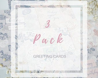 Pack of 3 Hand Lettered Greeting Cards | Patterned Greeting Cards for Her | Blank Floral Greeting Card Pack | Cards for Any Occasion
