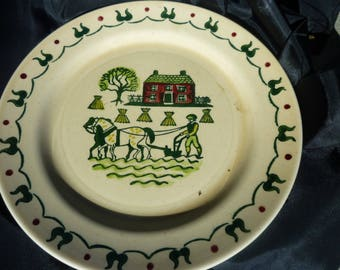 Homestead Provincial Poppytrail Plate, California Made, Metlox no.37~ Hand Painted 1950's~ Amish Farm, Fall Harvesting