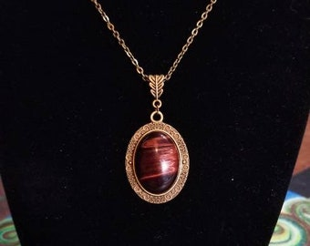 """18"""" Red Tigers Eye cabochon necklace"""